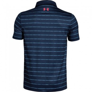 Under Armour chlapecké  golfové triko Tour Tips Stripe Polo Petrol Blue, L