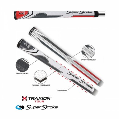 Super Stroke club grips TRAXION TOUR Grip Midsize White/Red/Grey