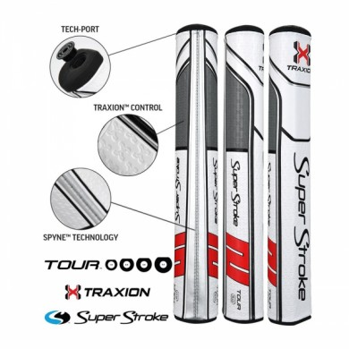 Super Stroke putter grip Traxion Tour Series 5.0 White/Red/Grey