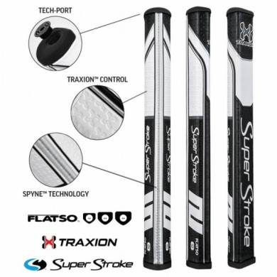 Super Stroke putter grip Traxion Flatso 1.0 Black/White