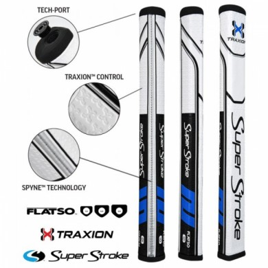 Super Stroke putter grip Traxion Flatso 1.0 Black/Blue/White