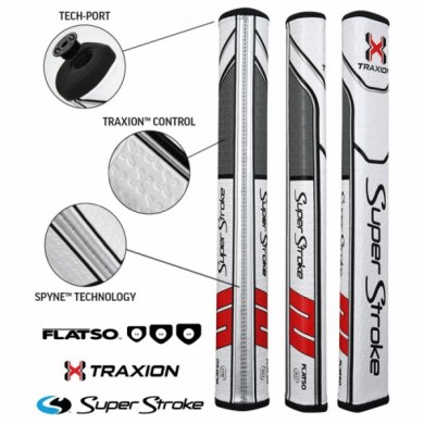 Super Stroke putter grip Traxion Flatso 3.0 White/Red/Grey