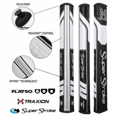 Super Stroke putter grip Traxion Flatso 3.0 Black/White