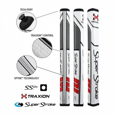 Super Stroke putter grip Traxion Flatso SS2 White/Red/Grey