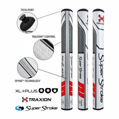Super Stroke putter grip Traxion XL Plus Series Tour XL + 2.0 White/Red/Grey