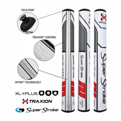Super Stroke putter grip Traxion XL Plus Series Tour XL+ 3.0 White/Red/Grey