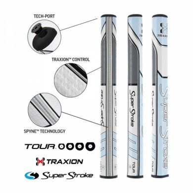 Super Stroke putter grip Traxion Tour Series 1.0 Tiffany/Grey/White