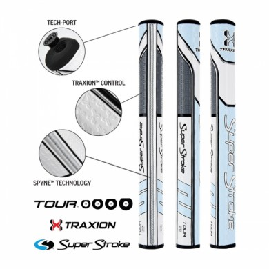 Super Stroke putter grip Traxion Tour Series 2.0 Tiffany/Grey/White