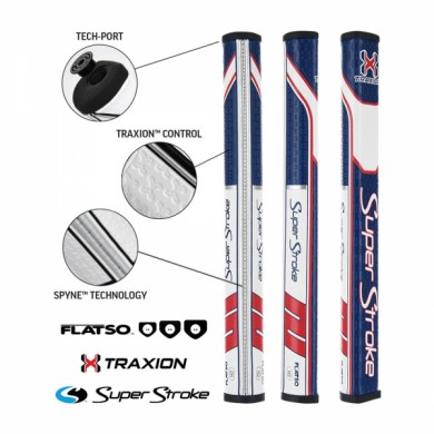 Super Stroke putter grip Traxion Flatso 1.0 Red/White/Blue