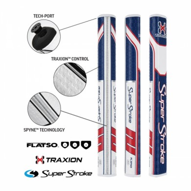 Super Stroke putter grip Traxion Flatso 2.0 Red/White/Blue