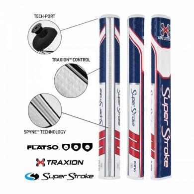 Super Stroke putter grip Traxion Flatso 3.0 Red/White/Blue