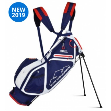 Sun Mountain 2019 Three 5 LS Stand Bag NAVY-WHITE-RED