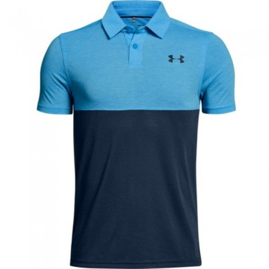 Under Armour dětské golfové triko Threadborne Blocked Polo Canoe Blue, L