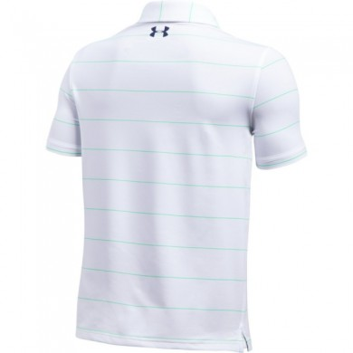Under Armour dětské triko s límečkemPlayoff Stripe Polo WHITE / VAPOR GREEN / ACADEMY, S